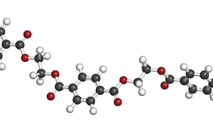 The development of chemical structures in polymer technology | Shutterstock 163711058 Polyethylene Terephthalate Pet Pete Polyester Plastic Chemical Structure Web